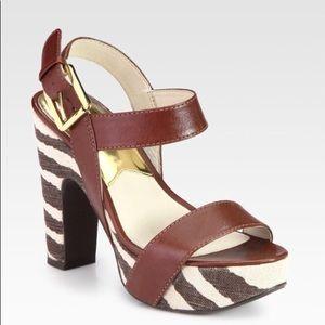 Michael Kors Ivana  zebra print platform sandals 8